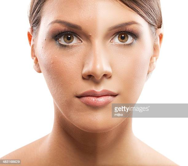 Avant et après, des produits cosmétiques, maquillage, photo retoucher