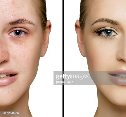 before and after  fresh daily make-up : Stock Photo