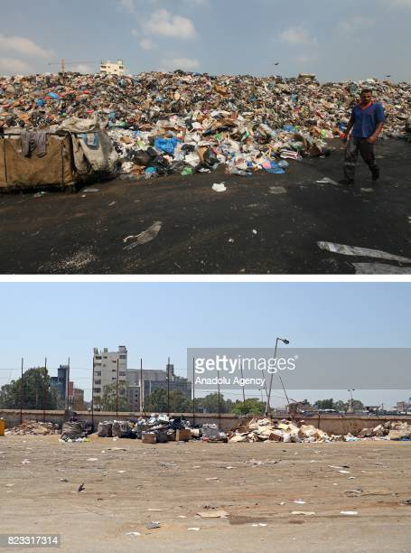 Before and after photos of Lebanese garbage crisis show rubbish bags piled up in Quarantine region of Beirut Port and the port after the garbages...