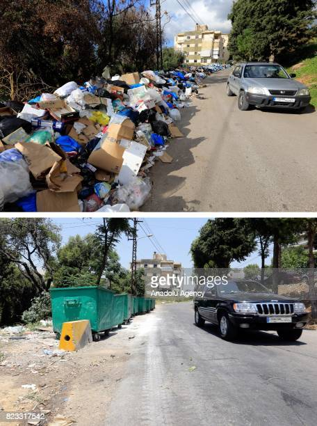 Before and after photos of Lebanese garbage crisis show rubbish bags piled up on the side of the road and the road after the garbages removed in...