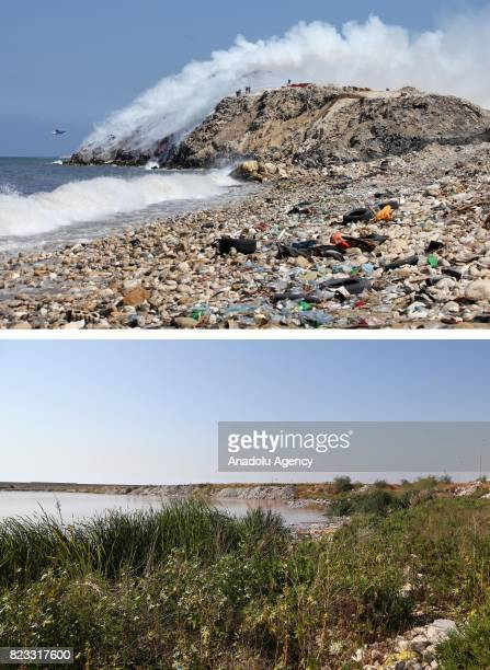 Before and after photos of Lebanese garbage crisis show stranded garbage at the beach and the beach after the garbages removed in Saida Lebanon on...