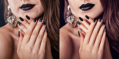 Before and after retouching in editor. Side by side fashion portraits of woman with makeup and manicure edited. Retoucher education
