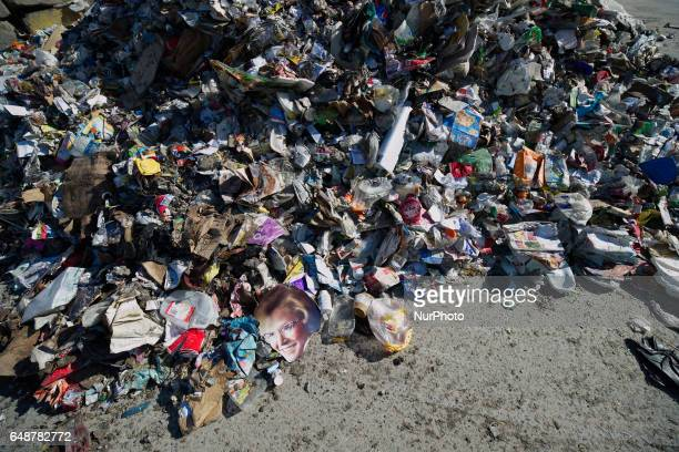 Before being fed into the process unsorted rubbish is piled up on the yard outside the Materials Recovery Facility in South Philadelphia PA on...