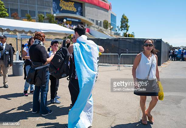Before Game 2 of the National Basketball Association Finals between the Golden State Warriors and the Cleveland Cavaliers a fan of the Warriors wears...