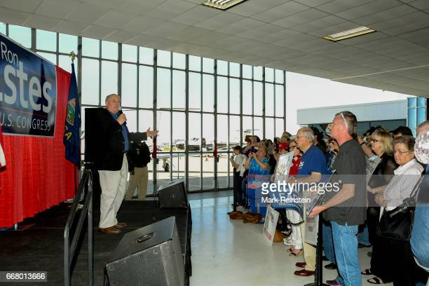 Before supporters at an unspecified airport American politician and Kansas State Treasurer Ron Estes campaigns for congress Wichita Kansas April 10...