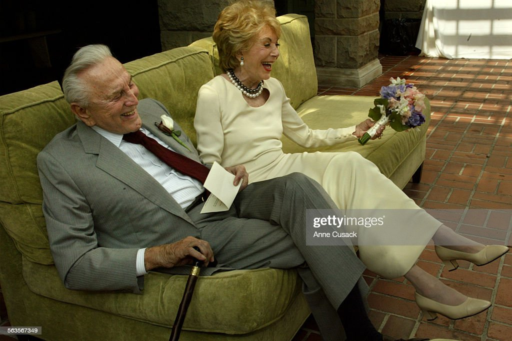 Before the ceremony Kirk Douglas and Anne share a laugh after Kirk read Anne a Poem /song given to him by good friend Jeff KanewAnne and Kirk Douglas...