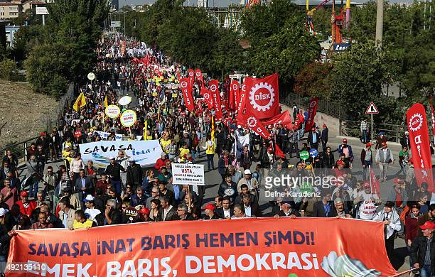 Before the deadly explosion people gather to march in Ankara October 10 2015 Turkey At least 30 people were killed and 130 people wounded in twin...