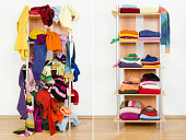 Messy colorful clothes thrown on a shelf and nicely arranged clothes in piles.