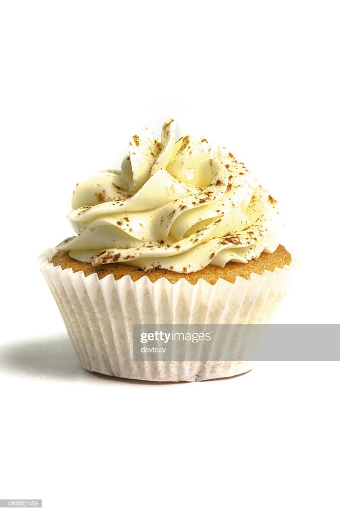 Bege creamed sweet cupcake : Stock Photo