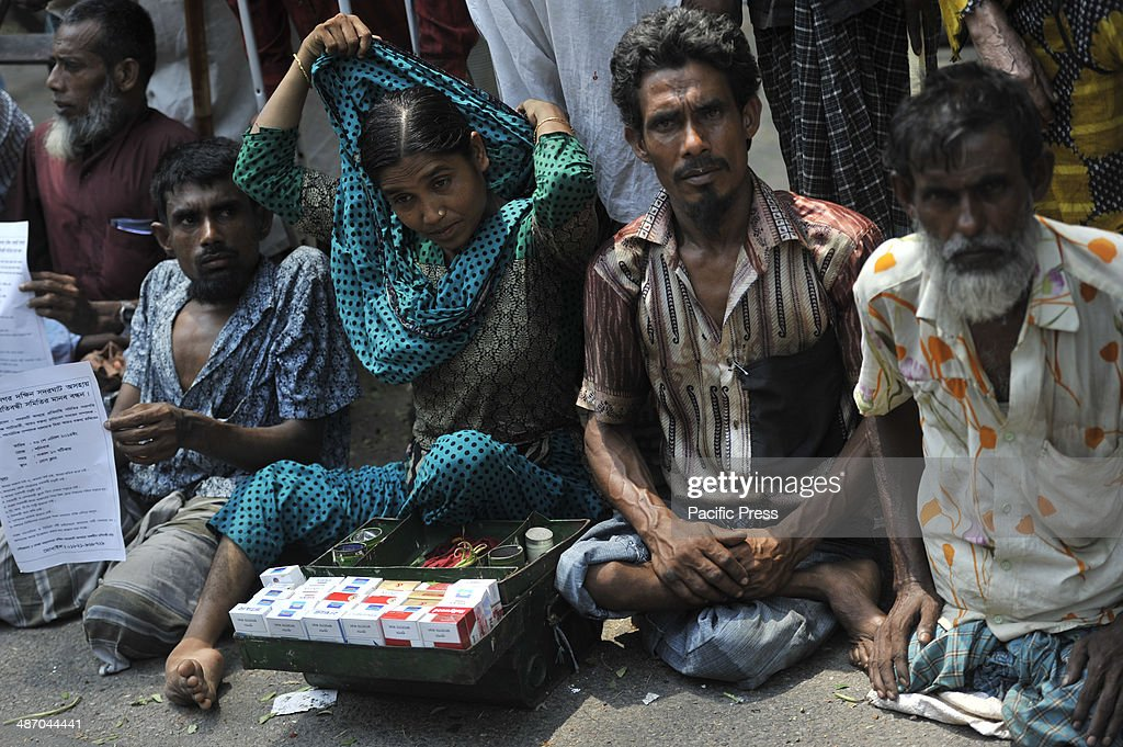 Beggar community in Dhaka made a human chain in front of the Press club demanding workplace and livelihood instead of begging in the street. Bangladesh is one of the world's most densely populated countries with 150 million people, 26 percent of whom live below the national poverty line of $2 (USD) per day and considered on the the list of one of the poorest nation in the world.