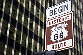 Sign announcing the begin of famous Route 66 in Chicago, Illinois.