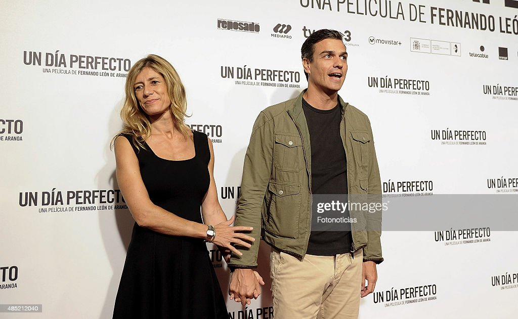 Begona Fernandez and Pedro Sanchez attend the 'A Perfect Day' (Un Dia Perfecto) Premiere at Palafox Cinema on August 25, 2015 in Madrid, Spain.