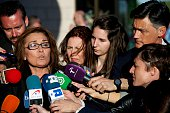Begona Fernandez attends the funeral chapel for the journalist Jesus Hermida at La Paz Morgue on May 05 2015 in Madrid Spain