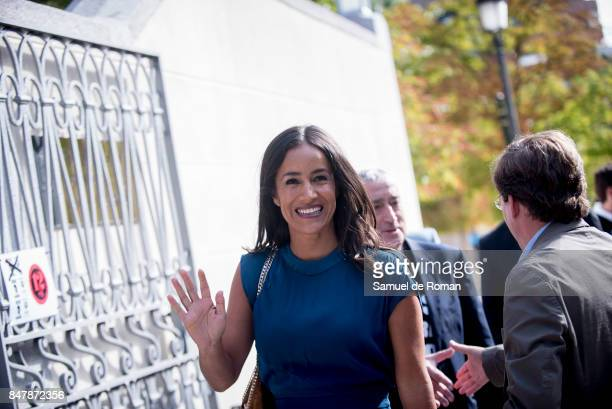 Begona Villacis arrives to the Funeral Tribute For Angel Nieto in Madrid on September 16 2017 in Madrid Spain