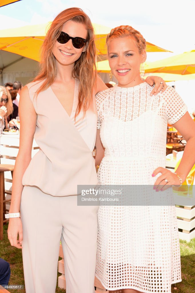 Behati Prinsloo and Busy Philipps attend the seventh annual Veuve Clicquot Polo Classic in Liberty State Park on May 31, 2014 in Jersey City City.