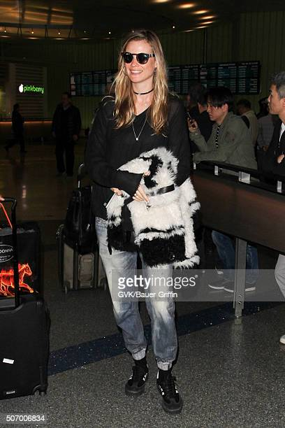 Behati Prinsloo is seen at LAX on January 26 2016 in Los Angeles California