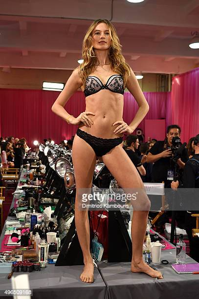 Behati Prinsloo is seen backstage before the 2015 Victoria's Secret Fashion Show at Lexington Avenue Armory on November 10 2015 in New York City