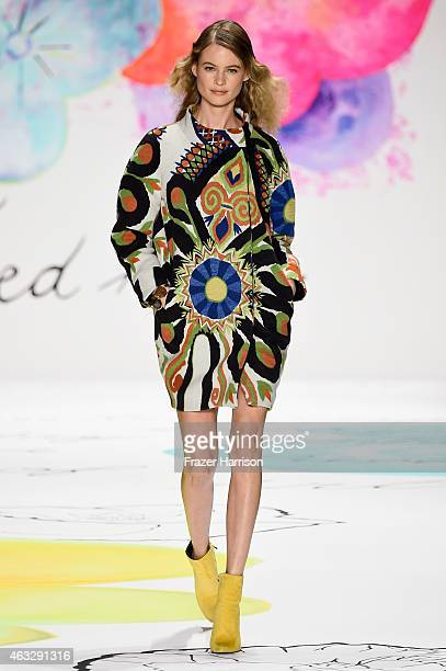 Behati Prinsloo walks the runway at the Desigual fashion show during MercedesBenz Fashion Week Fall 2015 at The Theatre at Lincoln Center on February...