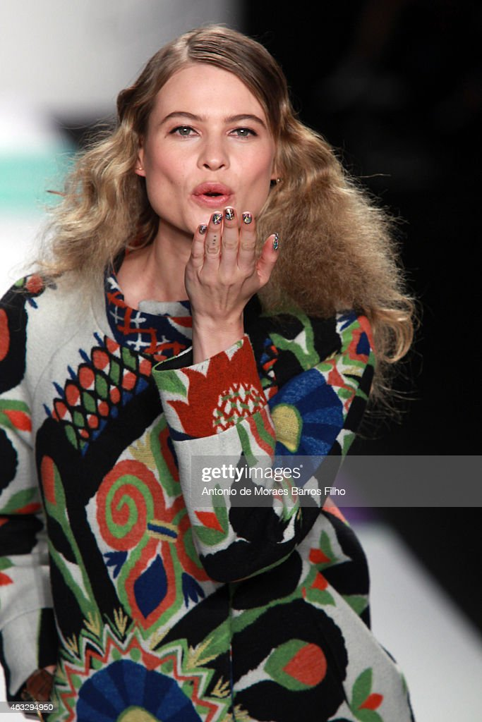 Behati Prinsloo walks the runway during the Desigual fall 2015 fashion show on February 12 2015 in New York City