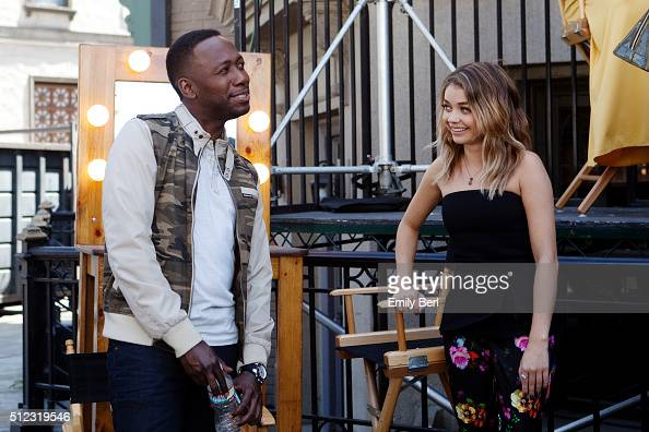 Behind the scenes of Lamorne Morris and Sarah Hyland at the The Hollywood Reporter 2014 Emmy Supporting Actor Portrait BTS at the New York Street at...
