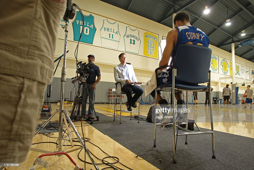 A behind the scenes shot of <a gi-track='captionPersonalityLinkClicked' href=/galleries/search?phrase=Stephen+Curry+-+Basketball+Player&family=editorial&specificpeople=5040623 ng-click='$event.stopPropagation()'>Stephen Curry</a> #30 of the Golden State Warriors while he sits down for an interview with <a gi-track='captionPersonalityLinkClicked' href=/galleries/search?phrase=Matt+Winer&family=editorial&specificpeople=7033466 ng-click='$event.stopPropagation()'>Matt Winer</a> of Turner Sports on June 2, 2015 at the Oracle Arena in Oakland, CA.