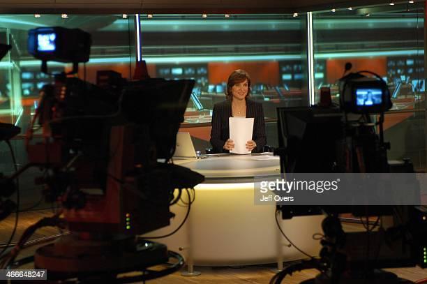Behind the scenes view of Fiona Bruce preparing to read the Ten O'Clock News bulletin Ten O'Clock News studio cameras