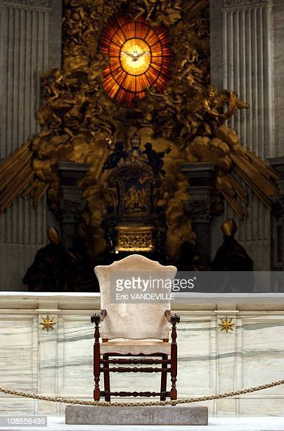 Behind the throne of Saint Peter made by Bernini which symbolizes the power of the Pope