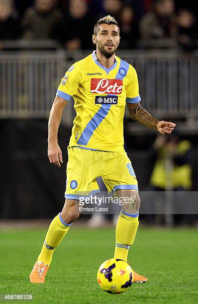 Behrami Valon of Napoli in action during the Serie A match between Cagliari Calcio and SSC Napoli at Stadio Sant'Elia on December 21 2013 in Cagliari...