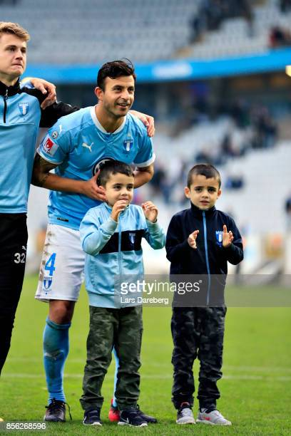 Behrang Safari of Malmo FF and his kids after the Allsvenskan match between Malmo FF and Halmstads BK at Swedbank Stadion on October 1 2017 in Malmo...