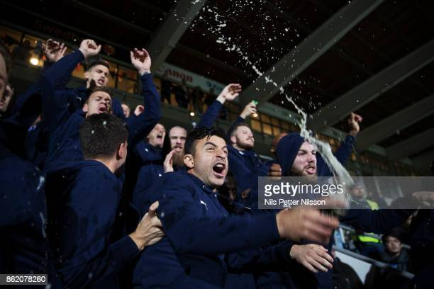 Behrang Safari of Malmo FF celebrates after the victory together with teammates during the Allsvenskan match between IFK Norrkoping and Malmo FF at...