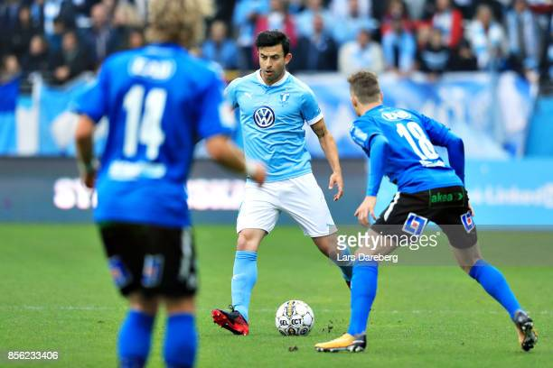 Behrang Safari of Malmo FF during the Allsvenskan match between Malmo FF and Halmstads BK at Swedbank Stadion on October 1 2017 in Malmo Sweden