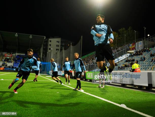 Behrang Safari of Malmo FF during warm up ahead of the Allsvenskan match between IFK Norrkoping and Malmo FF at Ostgotaporten on October 16 2017 in...