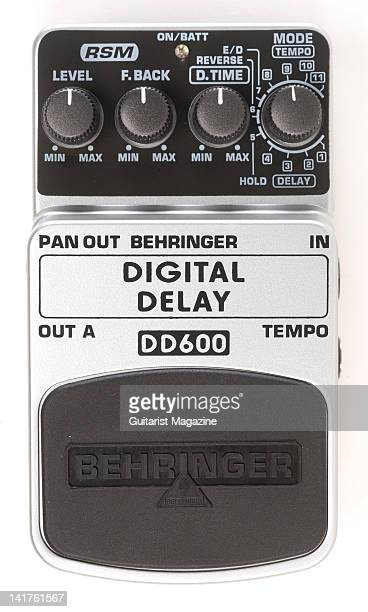 A Behringer DD600 Digital Delay electric guitar effects pedal during a studio shoot for Guitarist Magazine December 10 2008
