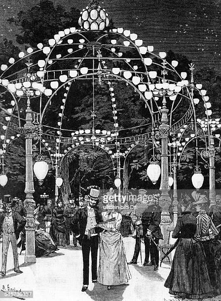 Bei Kroll im Berliner TiergartenNach der Installierung des elektrischen LichtesZeichnung von O Gerlachum 1888