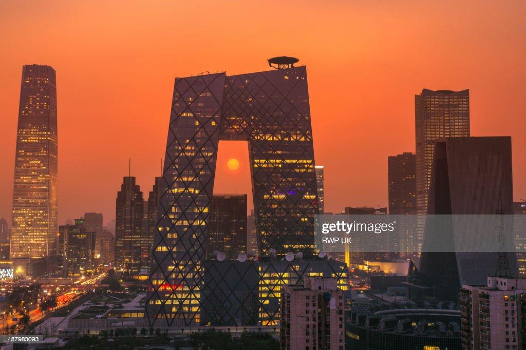 Beijing CBD and CCTV Building, Sunset