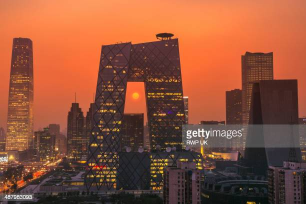 Beijing CBD and CCTV Building, Sunset