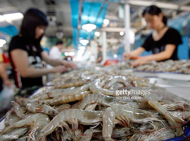 Chinese vendors prepare shrimps and prawns for sell at a wet market in Beijing 19 July 2007 US President George W Bush ordered top aides 18 July 2007...