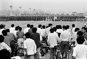 1989 Beijing China Democratic protestors watch as the Chinese army occupies Tiananmen Square which had been the focal point of the studentled...