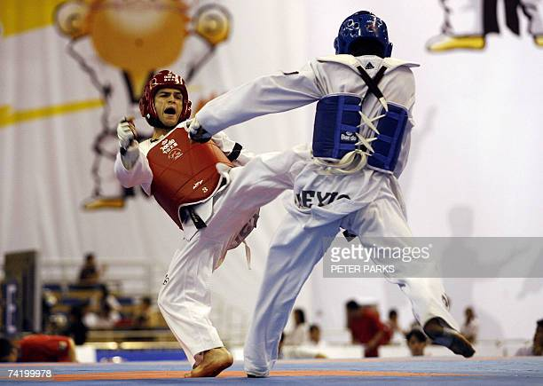 Spain's Jose Antonio Ramos kicks Mexico's Guillermo Perez during the mens under 58kg final against in the World Taekwondo Championship in Beijing 20...