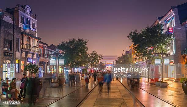 Beijing crowds enjoying the neon nightlife of Qianmen Street China