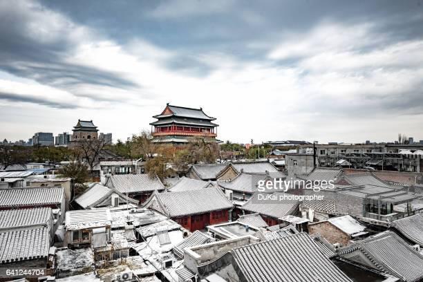 beijing Drum tower snow