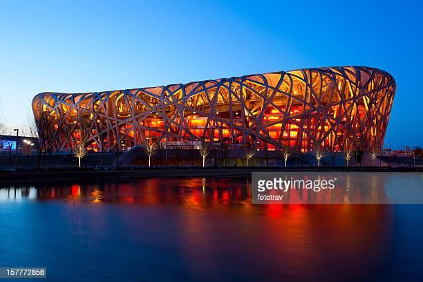 Estadio nacional de Pekín de noche-el nido de ave