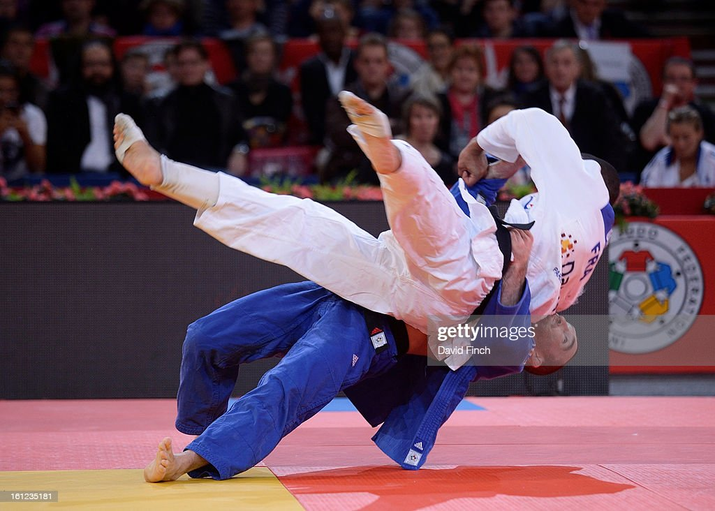 Beijing Olympic silver medallist, Benjamin Darbelet of France countered Florent Urani of France with an ippon during the repercharge in the u73kgs category at the Paris Grand Slam on day 1 February 09, 2013 at the Palais Omnisports de Paris, Bercy, Paris, France.