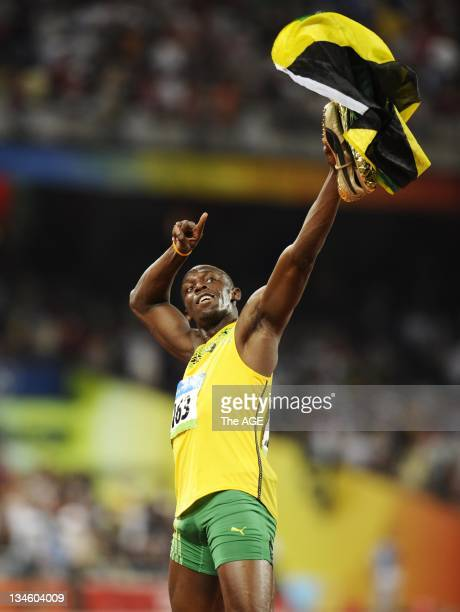 Beijing Olympics 2008 Memorable images of the Game of the XXIX Olympiad Athletics at National Stadium Mens 100m Final Usain Bolt after winning in...