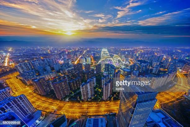 Beijing panorama at sunset