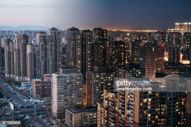 Beijing Residential Area Cityscape, Day to Night Transition