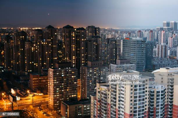 Beijing Residential Area Cityscape, Night to Day Transition