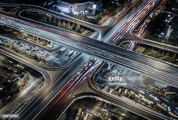 Beijing,aerial view of busy road intersection