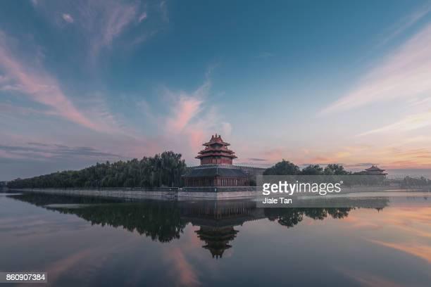 Beijing,the forbidden city's watch tower at dusk