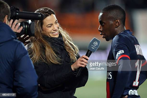 BeIN Sports journalist AnneLaure Bonnet interviews Blaise Matuidi of PSG during the french Ligue 1 match between FC Lorient and Paris SaintGermain FC...